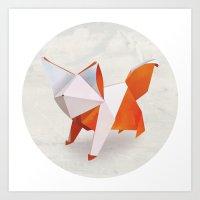 Origami Fox Art Print