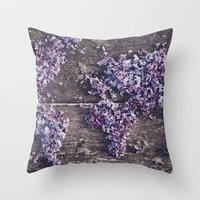 Lilac world map Throw Pillow