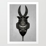 Horned Tribal Mask Art Print