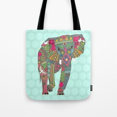 painted elephant aqua spot Tote Bag