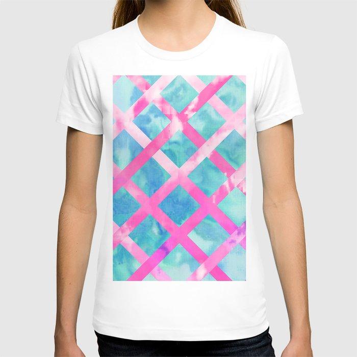 Bright pink purple lattice stripes teal watercolor t shirt for Bright purple t shirt