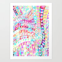 Polka-dots Meet The Flowers  Art Print