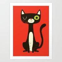 black cat Art Prints featuring Black Cat by Monster Riot