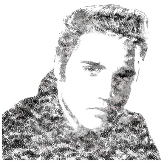 Text Elvis (Black and White) Art Print