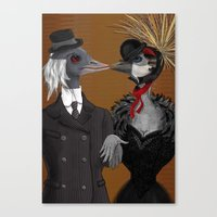Demoiselle Crane And Gre… Canvas Print