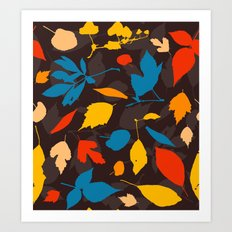 Seamless pattern with colorful autumn leaves Art Print