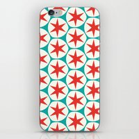 Retro Red Stars Pattern iPhone & iPod Skin