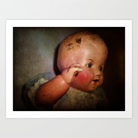 Old Cracked Doll Art Print