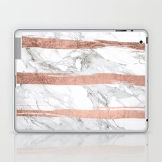 Modern chic faux rose gold brush stripes white marble Laptop & iPad Skin