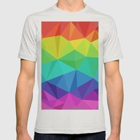 rainbow low poly Mens Fitted Tee Silver SMALL