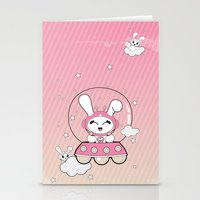 Space Bunny Flying Stationery Cards