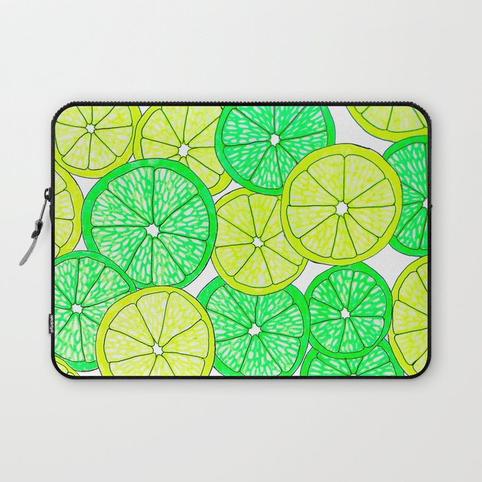 lemons and limes green yellow laptop sleeve