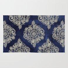 Cream Floral Moroccan Pattern on Deep Indigo Ink Rug