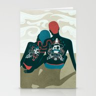 Stationery Cards featuring Love You / Love Me - Us … by Victor Beuren