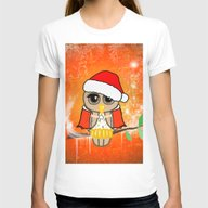 Funny Christmas Owl Womens Fitted Tee White SMALL