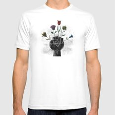 Flower Power SMALL White Mens Fitted Tee
