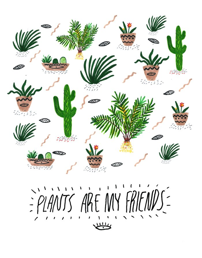 plants are my friends art print by kris tate society6. Black Bedroom Furniture Sets. Home Design Ideas