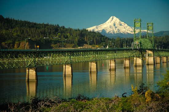 Hood River Bridge and Mount Hood Art Print