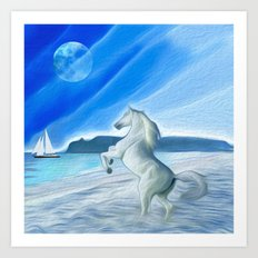 My Design - Beach with moon and horse Art Print