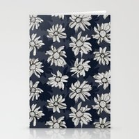 Black And Blue Flowers Stationery Cards