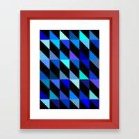 Blue Triangle Pattern (2… Framed Art Print