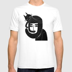 CAT BEARD Mens Fitted Tee White SMALL