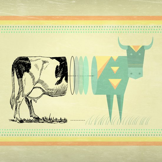 the black and white cow who wanted to be colorfully geometric  Art Print