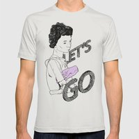 Let's Go Mens Fitted Tee Silver SMALL