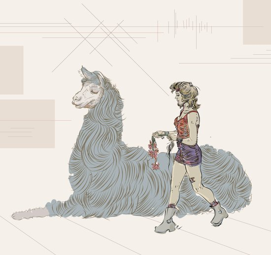 A Girl and a Llama Art Print