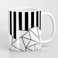 Abstract Outline Stripes Black and White Mug