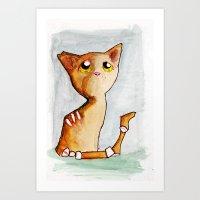 Orange Zombie Kitty Art Print