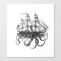 Octopus Attacks Ship on White Background Canvas Print