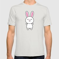 Cute Rabbit / Bunny Mens Fitted Tee Silver SMALL