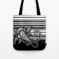 Paisley Stripe: Black Tote Bag