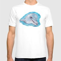 Dolphin 2 Mens Fitted Tee White SMALL