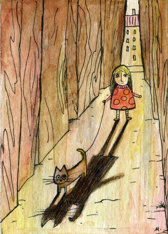 walking the cat Art Print