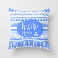 Hakuna Matata electric blue  Throw Pillow