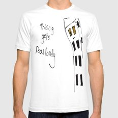 This City Gets Real Lonely SMALL White Mens Fitted Tee