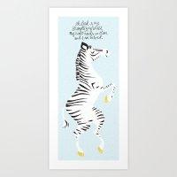 Blue Zebra Left Art Print