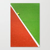 Red, green, white line and yellow tennis ball Canvas Print