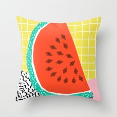 Dyno - watermelon throwback memphis 1980's retro style dots grid bright colorful modern hipster art Throw Pillow