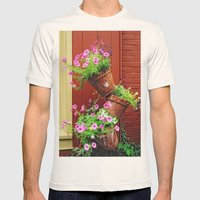 Potted Petunias Mens Fitted Tee Natural SMALL