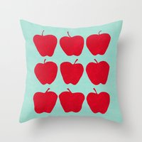 9 Apples (Pale Turquoise) Throw Pillow