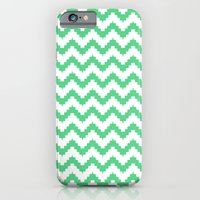 iPhone & iPod Case featuring funky chevron mint pattern by ravynka