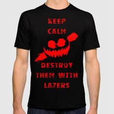 Keep Calm and Destroy Them With Lazers 3 Black SMALL Mens Fitted Tee