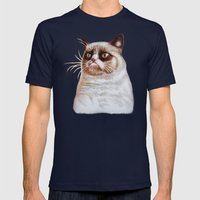 Grumpycat Mens Fitted Tee Navy SMALL