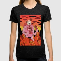 Alien Invader  Womens Fitted Tee Tri-Black SMALL