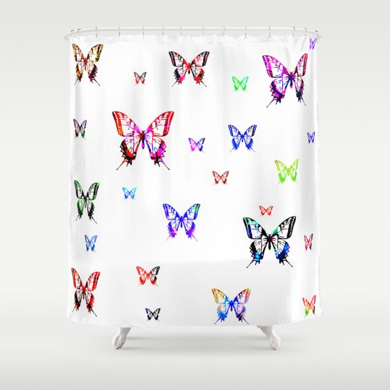 butterflies shower curtain by haroulita society6