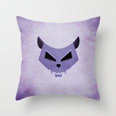 Purple Funny Evil Cat Skull Throw Pillow