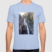 Mountain Waterfall Mens Fitted Tee Tri-Blue SMALL